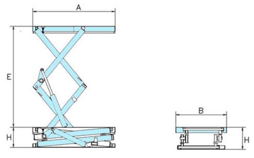 Mesa elevadora SA2E medidas