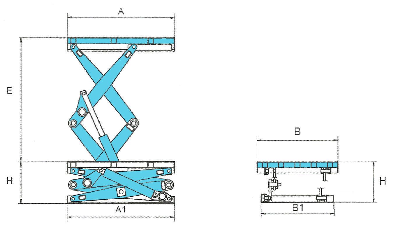Mesa elevadora SA2A medidas